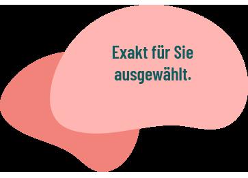 """Blase mit Schriftzug """"Exakt für Sie ausgewählt"""""""